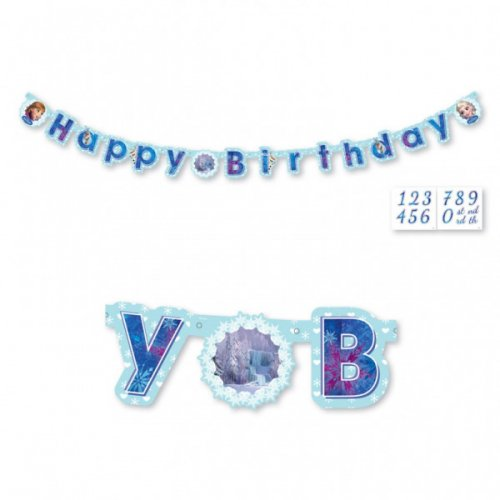 Guirlande lettres Happy Birthday Reine des Neiges personnalisable