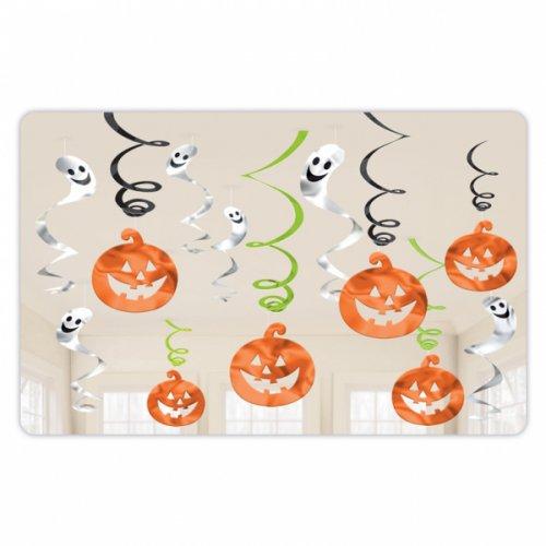 12 Guirlandes Spirales Halloween Citrouilles et Fantômes