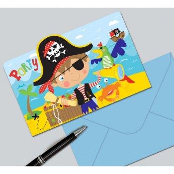 8 Invitations Petit Pirate