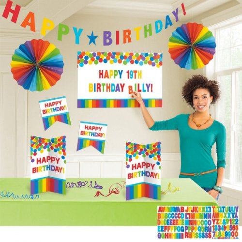 Grand Kit de Décorations Happy Birthday Rainbow Personnalisable