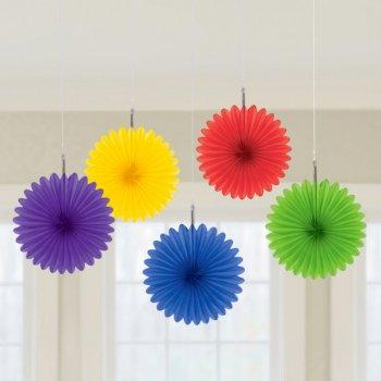 5 Minis Eventails Déco Rainbow (15 cm)