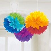 3 Boules Papier 9 Couleurs Rainbow