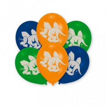 6 Ballons Dino 3 couleurs