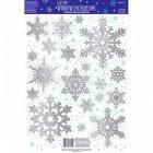 19 D�corations de Fen�tre Flocons Glitter Argent