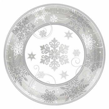8 Petites Assiettes Flocons d Argent (18 cm)