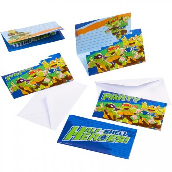 8 Invitations Tortues Ninja - Half-Shell Heroes