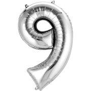 Ballon Géant Chiffre 9 Argent (86 cm)