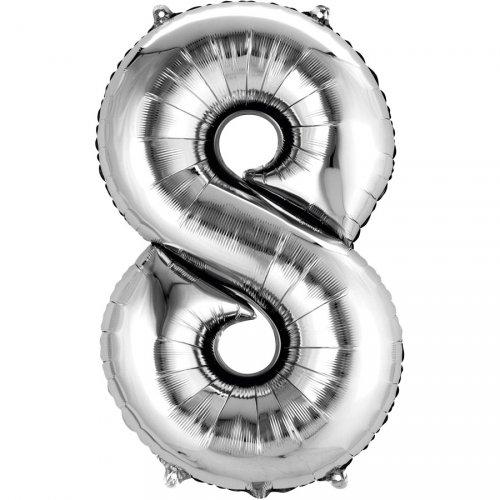Ballon Géant Chiffre 8 Argent (83 cm)