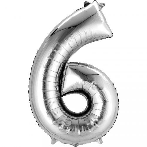 Ballon Géant Chiffre 6 Argent (86 cm)