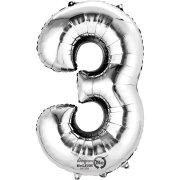 Ballon Géant Chiffre 3 Argent (86 cm)