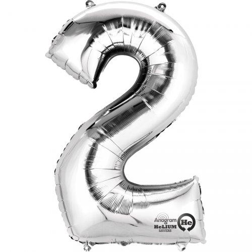 Ballon Géant Chiffre 2 Argent (83 cm)
