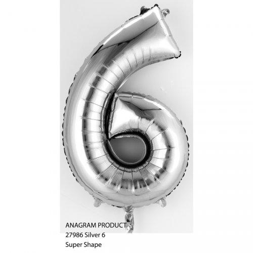 Ballon Chiffre 6 Argent (35 cm)