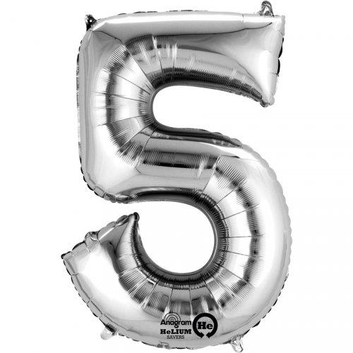 Ballon Chiffre 5 Argent (33 cm)