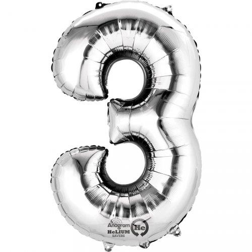 Ballon Chiffre 3 Argent (33 cm)