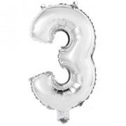 Ballon Chiffre 3 Argent (45 cm)