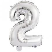 Ballon Chiffre 2 Argent (45 cm)