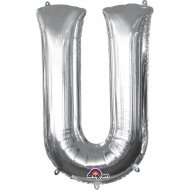 Ballon Lettre U Argent (33 cm)