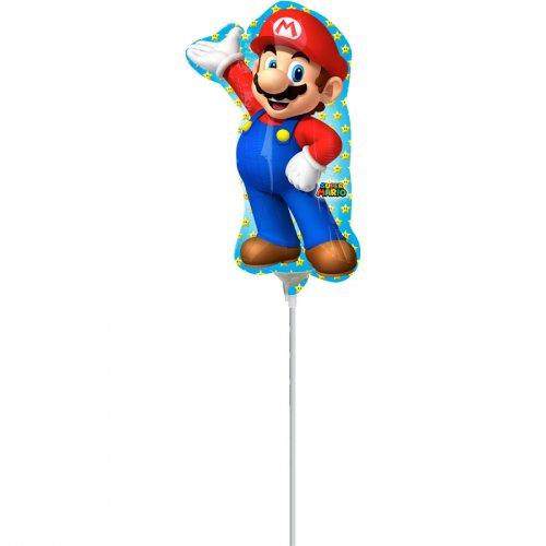 Ballon sur Tige Silhouette Mario (27 cm)