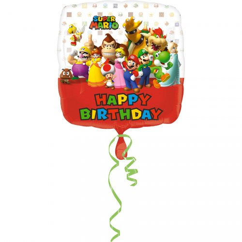 Ballon à Plat Mario Happy Birthay (43 cm)