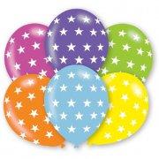 6 Ballons Etoiles 6 couleurs rainbow (27 cm)