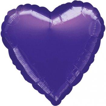 Ballon Coeur Violet Métal (43 cm)