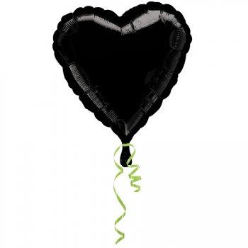 Ballon Coeur Noir Métal (43 cm)