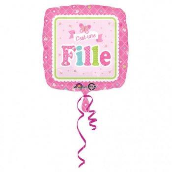 Ballon Hélium Carré C est une Fille