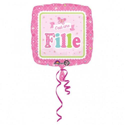 Ballon Gonflé à l Hélium Carré C est une Fille