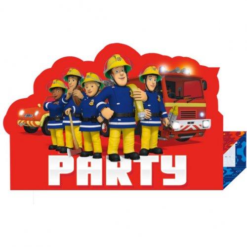 8 Invitations Sam le Pompier Party