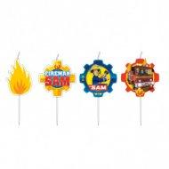4 Petites Bougies Sam le Pompier Fireman (7 cm)