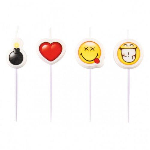 4 Petites Bougies Smiley Emoji (7 cm)