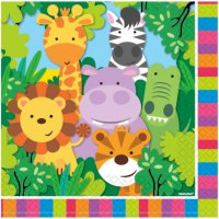 Contient : 1 x 20 Serviettes Amis de la Jungle