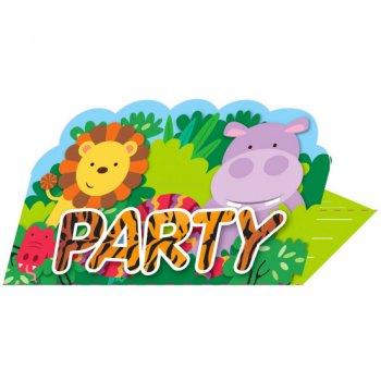 8 Invitations Amis de la Jungle