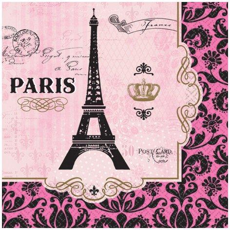 16 Serviettes Paris rétro