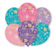 6 Ballons Happy Birthday Fleurs