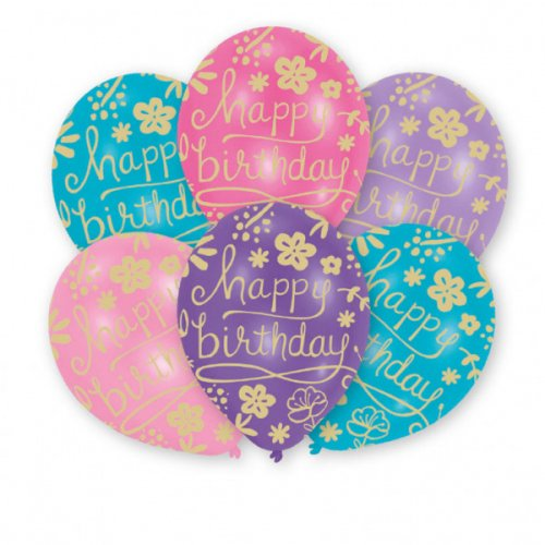 6 Ballons Happy Birthday Fleurs