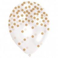 6 Ballons Impression Confettis Or
