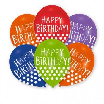 6 Ballons Happy Birthday Pois