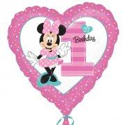 Ballon Gonflé à l'Hélium Minnie 1 an Coeur