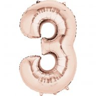 Ballon Géant Chiffre 3 Rose Gold (86 cm)