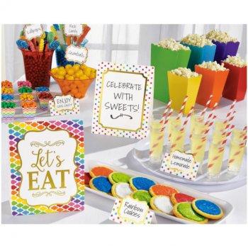 Kit Déco de Buffet Nuages, Chevrons et Pois Multicolores Snacky