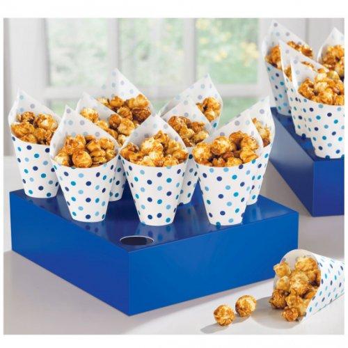 40 Cônes Papier Pois Bleus Snacky + Plateau bleu