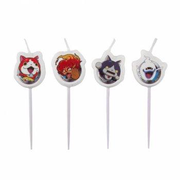 4 Mini Bougies sur pics Yo Kai Watch (6 cm)