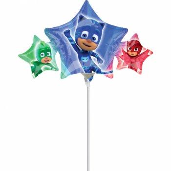 Ballon sur tige 3 étoiles Pyjamasques