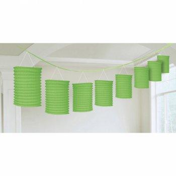 Guirlande 8 Lanternes Papier Vert (3,65 m)