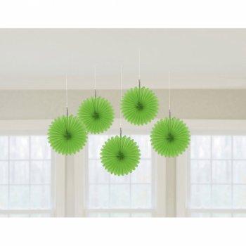 5 Minis Eventails Déco Vert (15 cm)