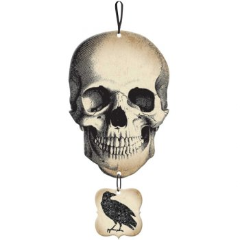 Pancarte Squelette et Corbeau (44,5 cm) - Bois