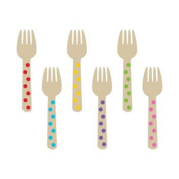 12 Minis Fourchettes Pois Multicolores (10,5 cm) - Bois