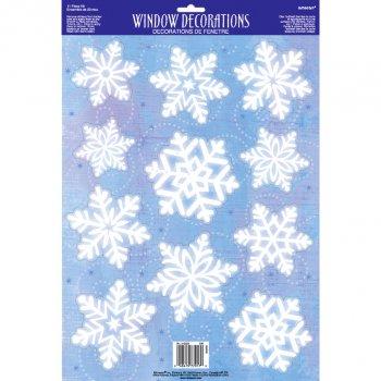 11 Deco de Fenêtre Flocons Blancs