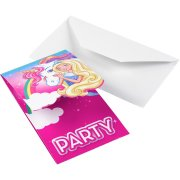 8 Invitations Barbie Licorne